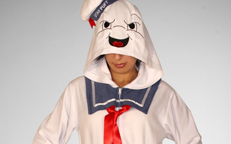 460e83a54a Now Available  Stay Puft Footed Hooded Adult Pajama s -