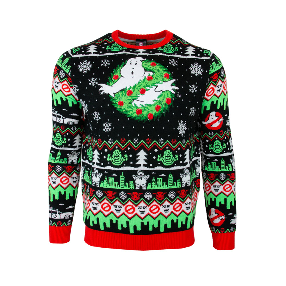 NOW AVAILABLE: New Ghostbusters ugly Christmas sweater